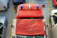 Fire truck. View from top of fire truck rescue vehicle Stock Photos