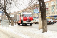 Fire truck. VOLGOGRAD, RUSSIA - February 02, 2018: The fire truck goes on the road Stock Image