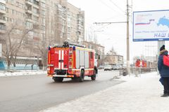 Fire truck. VOLGOGRAD, RUSSIA - February 02, 2018: The fire truck goes on the road Royalty Free Stock Photos
