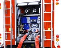 Fire truck water pump compressor closeup. Fireman fire truck water supply pressure control pump compressor closeup stock images