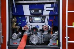 Fire truck water pump compressor closeup. Fire truck water supply pressure control pump compressor closeup royalty free stock photo