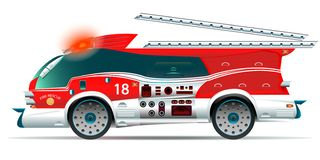 Fire truck on white background. vector illustration