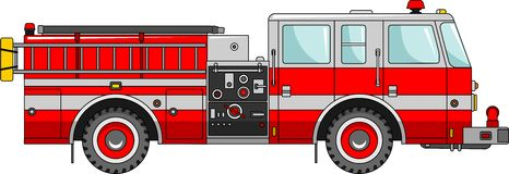 Fire truck on a white background in a flat style. Detailed illustration of fire truck in a flat style Royalty Free Stock Photography