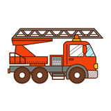 Fire truck  on white background. Vector illustration Stock Photos