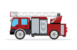 Fire truck  on white. Fire truck  on white,emergency vehicle fire engine truck, flat design vector illustration Royalty Free Stock Images