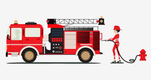 Fire truck. A woman firefighter with a fire truck with a white background Royalty Free Stock Image