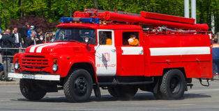 Fire truck. Zil red white blue color on street of Minsk Belarus Stock Photography