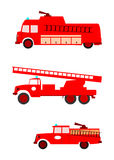 Fire trucks. Side view of colorful retro silhouette fire engines on a white background. With place for any text. Without gradients Stock Images