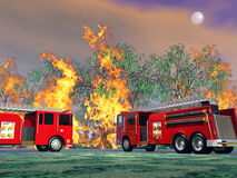 Fire trucks in action - 3D render. Illustration of two utility trucks near forest fire by full moon night Stock Images