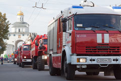Fire trucks in carnival procession Royalty Free Stock Images