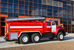 Fire trucks. Emergency vehicle based on car chassis equipped with fire and other technical equipment Stock Photos