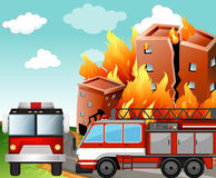 Fire trucks at the fire scene. Illustration Stock Photography