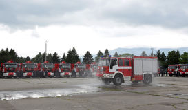 Fire trucks and firefighters Royalty Free Stock Photo