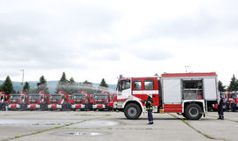 Fire trucks and firefighters Stock Photography