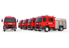 Fire trucks fleet. 3D render image representing a fleet of emergency fire trucks Royalty Free Stock Photo