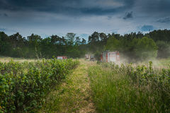 Fire trucks going to extinguish forest Stock Photos