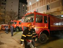 Fire trucks. At Inspectorate for Emergency Situations `Dealul Spirii` Bucharest - Ilfov, Romania stock video footage