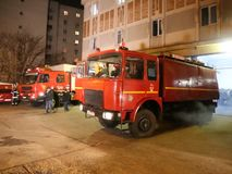 Fire trucks. At Inspectorate for Emergency Situations `Dealul Spirii` Bucharest - Ilfov, Romania stock footage