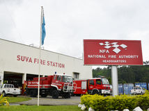 Fire Trucks. Maintenance is been carried out at the Suva National Fire Authority, main fire station in the South Pacific December 2014 Royalty Free Stock Photo