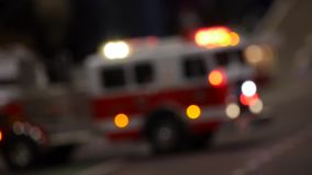 Fire trucks parked in a street background - unfocused style of the camera stock video