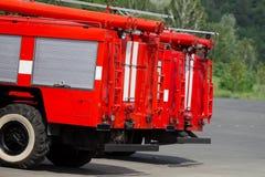 Fire trucks. Red fire trucks in parking Stock Image
