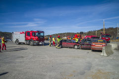 Rescue center is alerted and fire truck arrives, photo 15 Royalty Free Stock Images