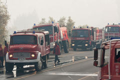 Fire Trucks on a road. POMBAL, PORTUGAL - JULY 15: Fire Trucks on a road to prevent that wildfire crosses the road, in Pombal, Portugal on July 15, 2012 Stock Photography