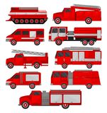 Fire trucks set, emergency vehicles, side view vector Illustrations on a white background royalty free illustration