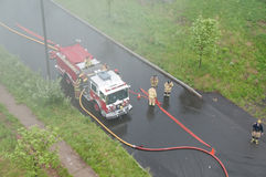 Fire Trucks in Smoke. Fire Engines in smoke shoot from above Stock Photos