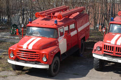 Fire trucks stand on the street. Murmansk, Russia - May 30, 2010: Fire trucks stand on the street Royalty Free Stock Image