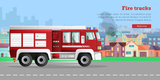 Fire Trucks Vector Flat Web Banner. Fire trucks banner. Modern fire engine rides on fire, town buildings, smoke flat vector illustrations. Fire apparatus, fire Royalty Free Stock Photo