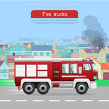 Fire Trucks Vector Flat Web Banner Stock Images