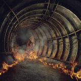 Fire in a tunnel. Fire and smoke in an old industrial tunnel stock illustration