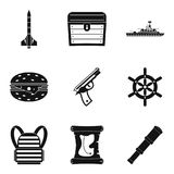 Fire unit icons set, simple style. Fire unit icons set. Simple set of 9 fire unit vector icons for web isolated on white background Royalty Free Stock Images