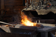 Fire used by the blacksmith in the forge Stock Photography