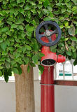 Fire valve. Valve on the fire tube. Fire-fighting equipment royalty free stock image