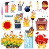 Fire vector fired house with burnt door fiery smoky kitchen in hot flame blaze illustration set of lighter and fireplace. Isolated on white background stock illustration