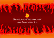 Fire vector. Fire Flame vector icon with fire quote design template. Tongues of flame creative icon. symbol abstract. vector background. The most powerful weapon Stock Images