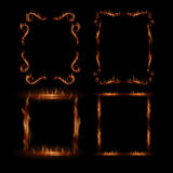 Fire vector frames. Fire frame in vintage style. Set of vector transparent frames Royalty Free Stock Photography
