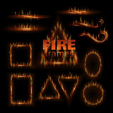 Fire vector frames. Fire frames. Vector triangle oval circle square rectangle spiral line Stock Photo
