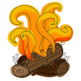 Fire vector. Hand-drawn colored fire. Royalty Free Stock Photo