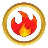 Fire vector icon. In golden circle, cartoon style isolated on white background Royalty Free Stock Images