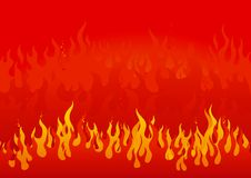 Fire. Vector illustration with yellow-orange flames on red background Royalty Free Stock Photography