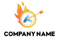 Fire vector logo with arrow in the circle. Orange vector logo with fire and arrow in the circle Royalty Free Stock Image