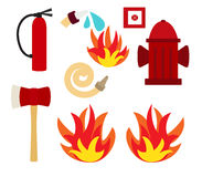 Fire vector set. Set of fire safety pictures Royalty Free Stock Photo