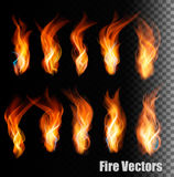 Fire vectors on transparent background. Stock Images