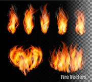 Fire vectors on transparent background. Royalty Free Stock Images