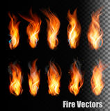 Fire vectors on transparent background. Royalty Free Stock Photos