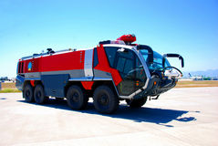 Fire vehicle at airport. Airport fire car with extinguishing devices Royalty Free Stock Photo