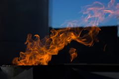 Fire. The fire is very hot. Don 't play with it. Fire. The fire is very hot stock image